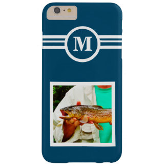 Solid Blue custom monogram initial, add your photo Barely There iPhone 6 Plus Case