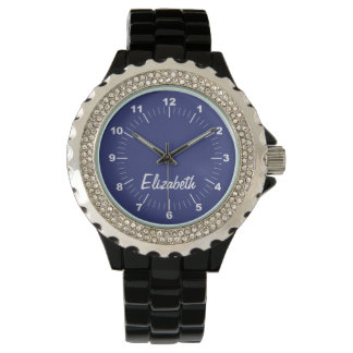 Solid Blue Personalized Name Custom Watch