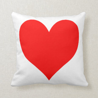 Solid Bright Red Cute Heart Throw Pillow