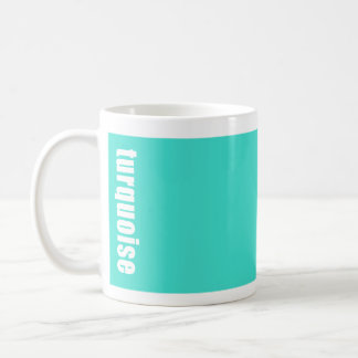 solid bright turquoise mug with the  colour name