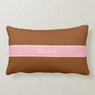 Solid Brown, Pink Ribbon Name Monogram Throw Pillows