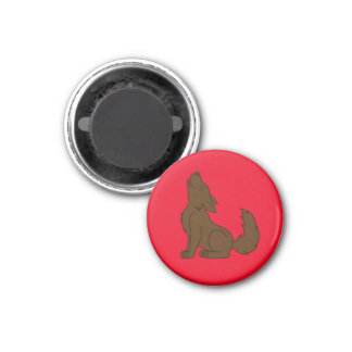 Solid Brown Wolf Pup Howling 1 Inch Round Magnet