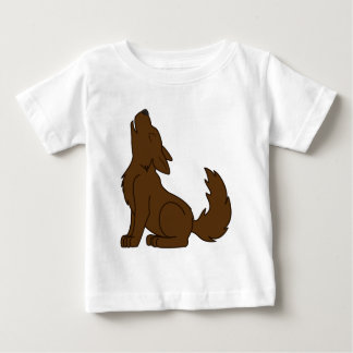 Solid Brown Wolf Pup Howling Baby T-Shirt