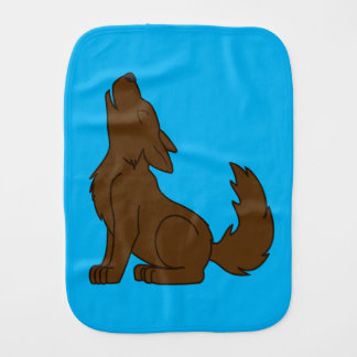 Solid Brown Wolf Pup Howling Burp Cloth