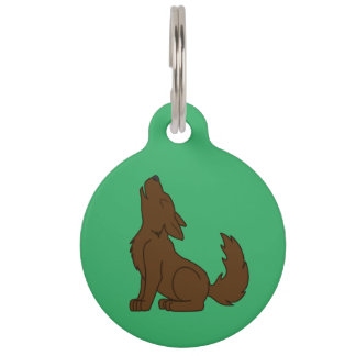 Solid Brown Wolf Pup Howling Pet Name Tag