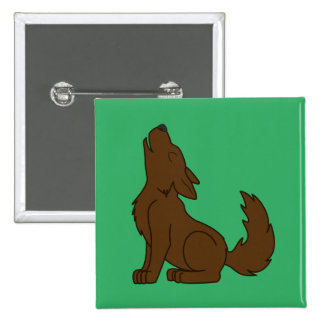 Solid Brown Wolf Pup Howling Pinback Button