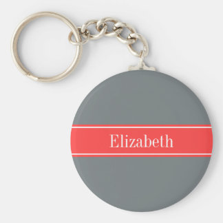 Solid Charcoal Gray Coral Red Ribbon Name Monogram Keychain