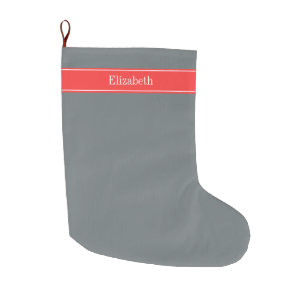 Solid Charcoal Gray C Red Ribbon Name Monogram Large Christmas Stocking