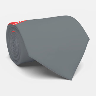 Solid Charcoal Gray Coral Red Ribbon Name Monogram Tie