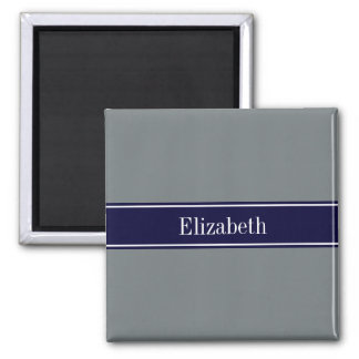 Solid Charcoal Gray Navy Blue Ribbon Name Monogram 2 Inch Square Magnet
