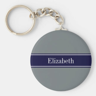 Solid Charcoal Gray Navy Blue Ribbon Name Monogram Basic Round Button Keychain