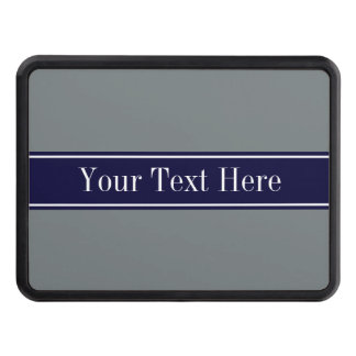 Solid Charcoal Gray Navy Blue Ribbon Name Monogram Hitch Cover