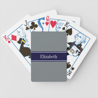 Solid Charcoal Gray Navy Blue Ribbon Name Monogram Bicycle Playing Cards