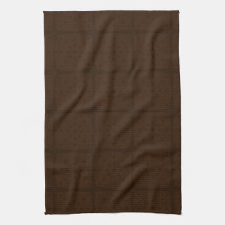 Solid Chocolate Brown Tone on Tone Grid Towels