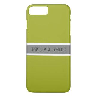 Solid Citron Modern Gray Ribbon Elegant Name iPhone 8 Plus/7 Plus Case