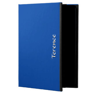 Solid Cobalt Blue Custom White Text iPad Air Case