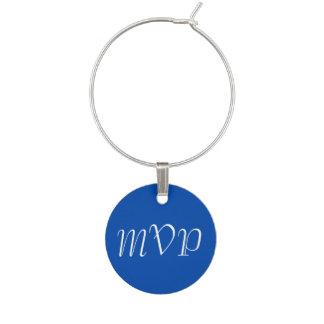 Solid Cobalt Blue Monogram Wine Glass Charm