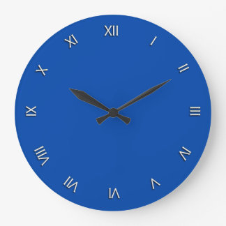Solid Cobalt Blue White Roman Numerals Wall Clock
