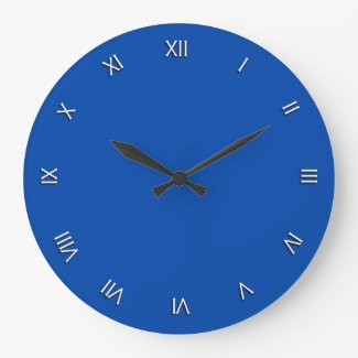 Solid Cobalt Blue White Roman Numerals Wall Clock