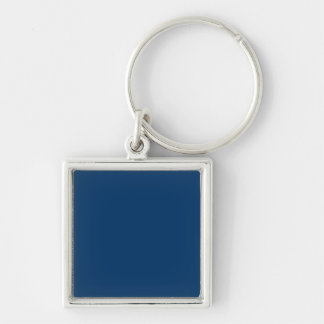 Solid Color 003366 Dark Blue Background Template Silver-Colored Square Keychain