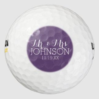 Solid Color Aubergine Mr & Mrs Wedding Favor Pack Of Golf Balls