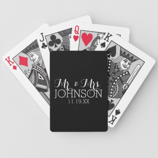 Solid Color Black Mr & Mrs Wedding Favors Bicycle Playing Cards