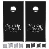Solid Color Black Mr & Mrs Wedding Favors Cornhole Set