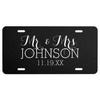 Solid Color Black Mr & Mrs Wedding Favors License Plate