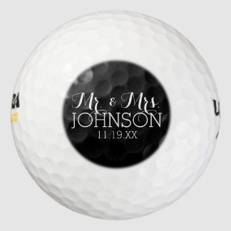 Solid Color Black Mr & Mrs Wedding Favors Pack Of Golf Balls