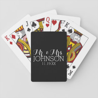 Solid Color Black Mr & Mrs Wedding Favors Playing Cards