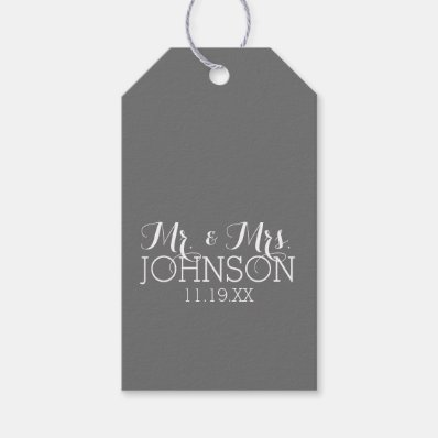Solid Color Charcoal - Mr & Mrs Wedding Favors Pack Of Gift Tags