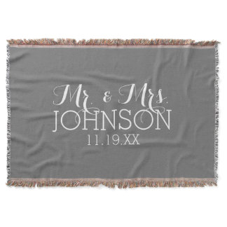 Solid Color Charcoal - Mr & Mrs Wedding Favors Throw Blanket