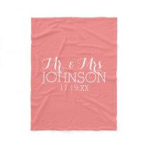 Solid Color Coral Peach - Mr & Mrs Wedding Favors Fleece Blanket