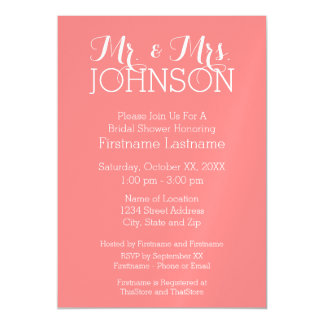 Solid Color Coral Peach - Mr & Mrs Wedding Favors Magnetic Invitations