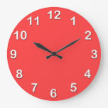 Solid Color: Coral Red Wall Clocks