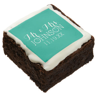 Solid Color Emerald Green Mr & Mrs Wedding Favors Square Brownie