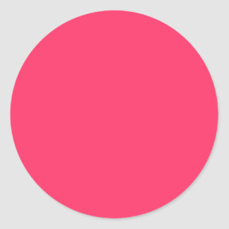 Solid Color FF3366 Pink Background Template Round Sticker