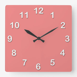 Solid Color: Light Coral Square Wall Clock