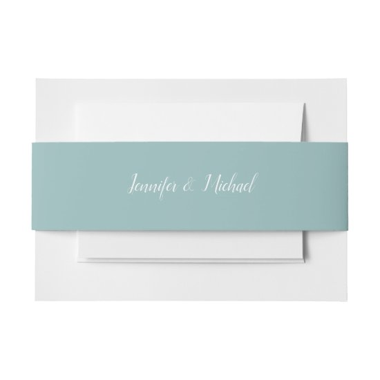 Solid Color Mint Belly Bands Invitation Belly Band