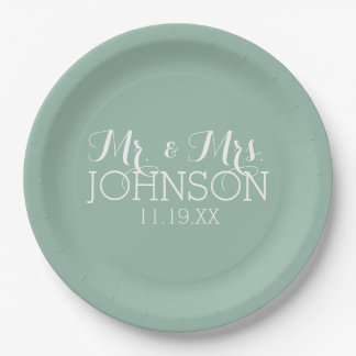 Solid Color Mint Green - Mr & Mrs Wedding Favors 9 Inch Paper Plate