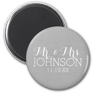 Solid Color Mr & Mrs Wedding or Anniversary Favor 2 Inch Round Magnet