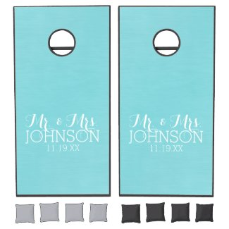 Solid Color Mr & Mrs Wedding or Anniversary Favor Cornhole Set