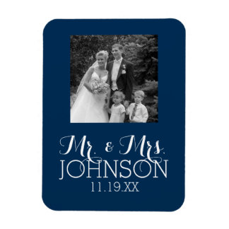 Solid Color Mr & Mrs Wedding or Anniversary Favor Rectangular Photo Magnet
