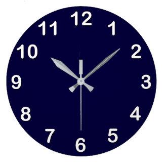 Solid Color: Navy Blue Large Clock