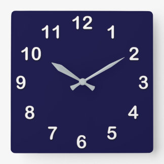 Solid Color: Navy Blue Square Wall Clock