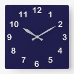 Solid Color: Navy Blue Wall Clocks