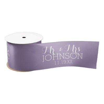 Solid Color Orchid Lavender Mr & Mrs Wedding Favor Satin Ribbon