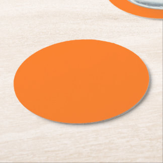 Solid Color: Pumpkin Orange Round Paper Coaster