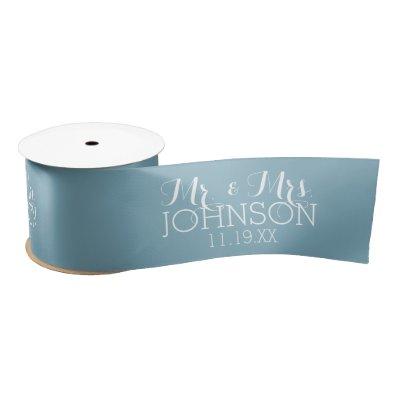 Solid Color Robin Egg Blue Mr & Mrs Wedding Favors Satin Ribbon