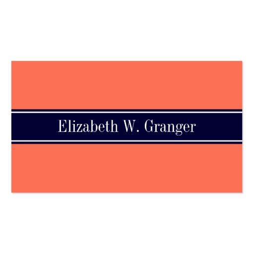 Solid Coral, Navy Blue Ribbon Name Monogram Business Card Templates